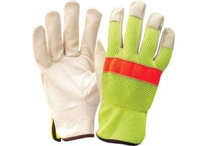 Lime Mesh and Cow Grain Leather Drivers Gloves