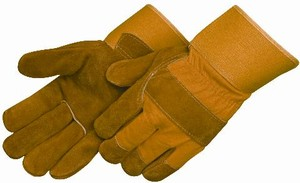 Shoulder Split Cowhide Leather Palm Gloves, Yellow Canvas Back